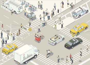 Cars and pedestrians on busy road