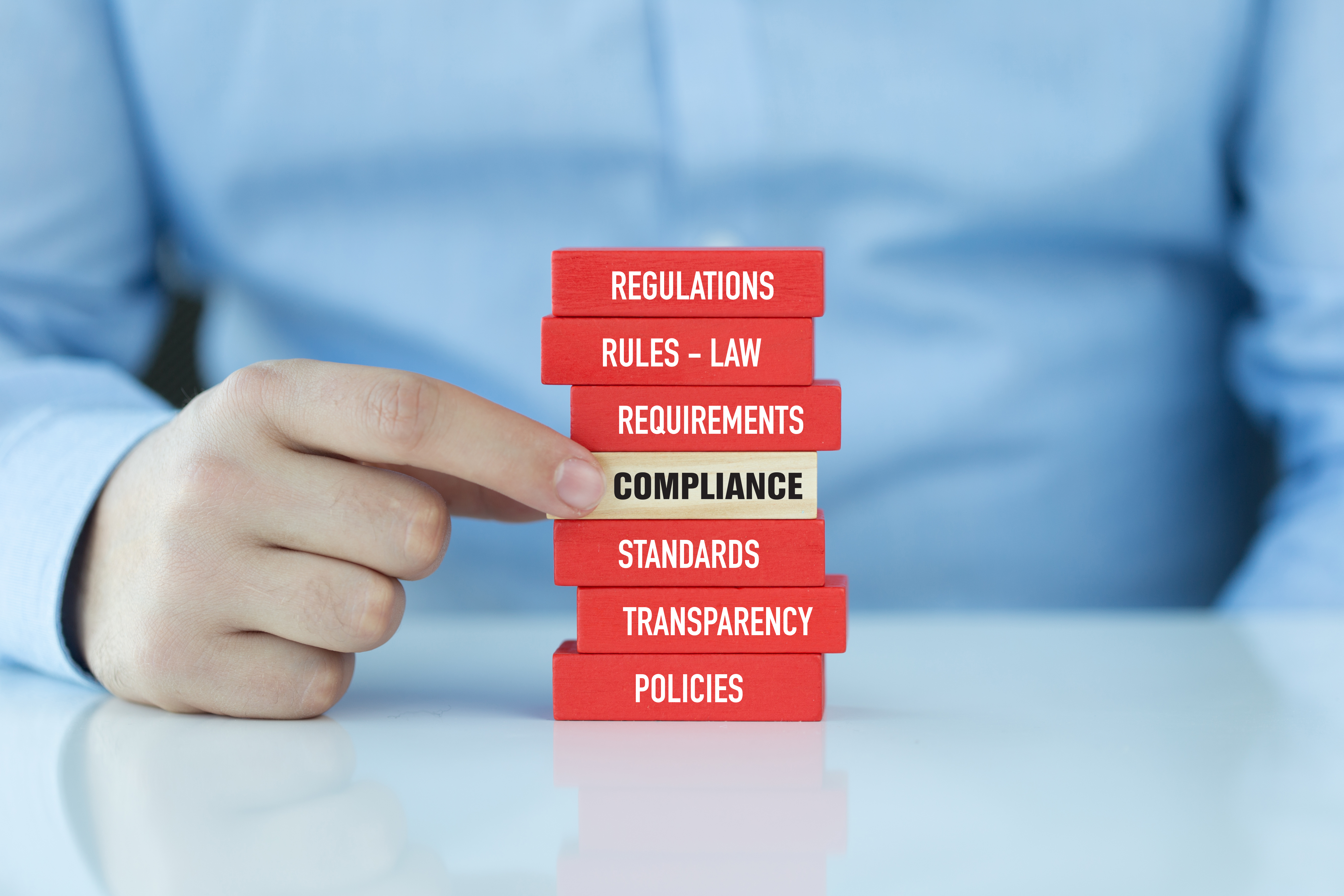 Blocks stating the words - regulations, rules-law, requirements, compliance, standards, transparency, policies