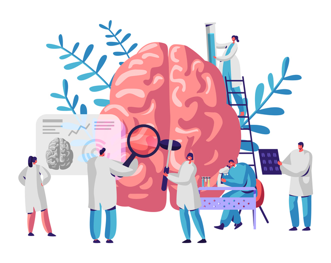 People examining brain and science cartoon