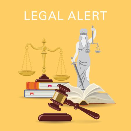 Legal alert cartoon- statue, balance, book