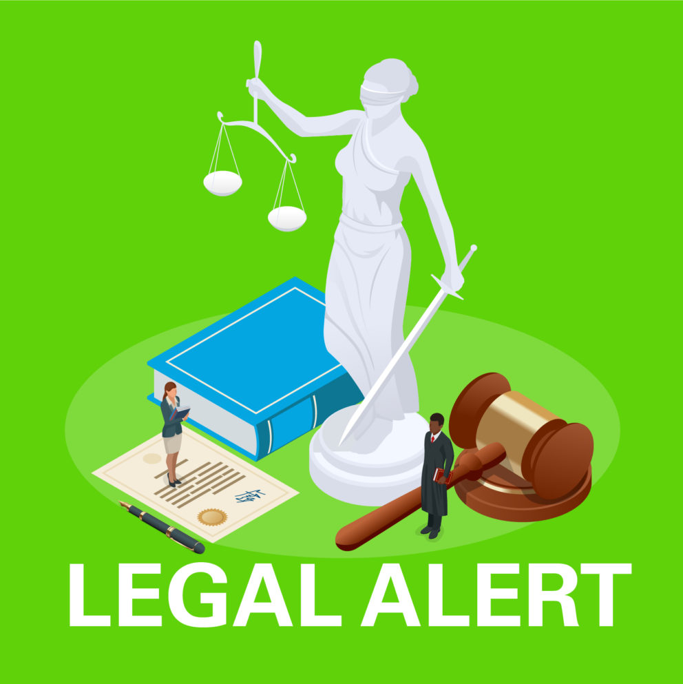 green background legal alert - gavel, book, document