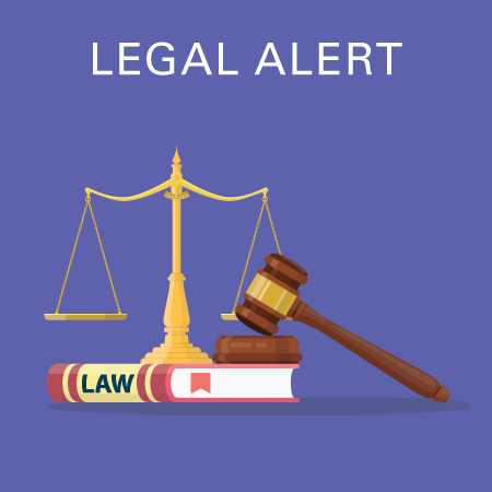Legal alert cartoon - law book, gavel, balance