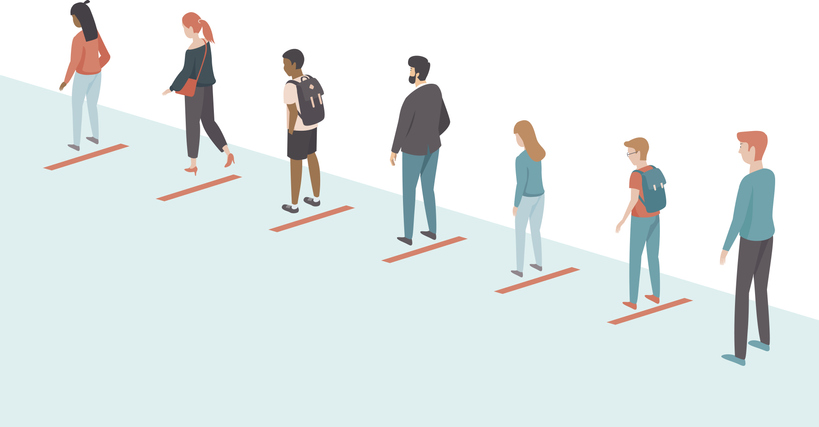 cartoon of people standing in a line apart from one another