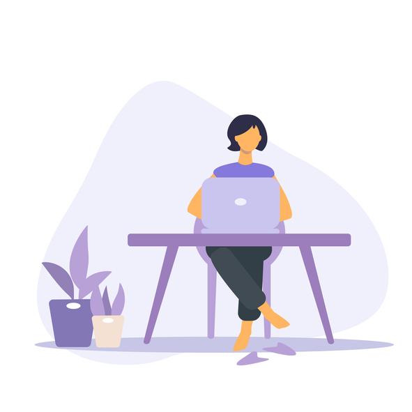 Woman typing on computer cartoon - purple