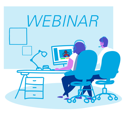 webinar two people sitting at desk